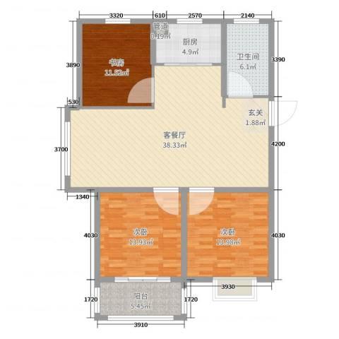 博士苑3室2厅1卫1厨118.00㎡户型图