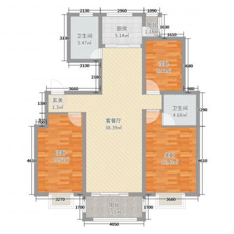 博士苑3室2厅2卫1厨126.00㎡户型图