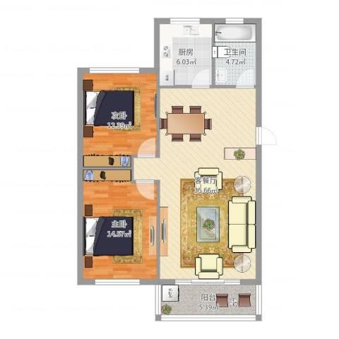 中河丽园2室2厅1卫1厨98.00㎡户型图