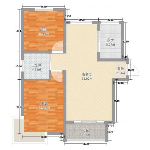 翠屏龙苑2室2厅1卫1厨92.00㎡户型图