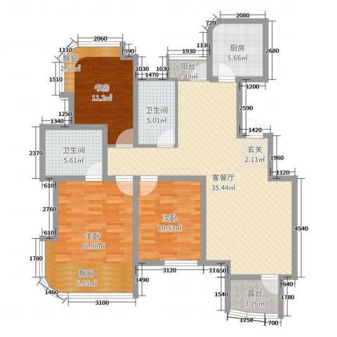 金世纪铭城豪庭3室2厅2卫1厨120.00㎡户型图
