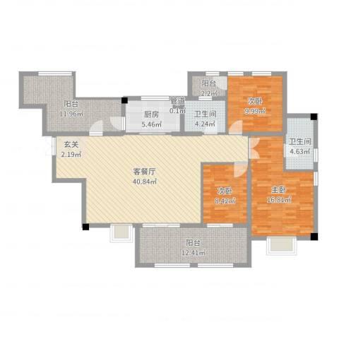 融汇江山3室2厅2卫1厨146.00㎡户型图