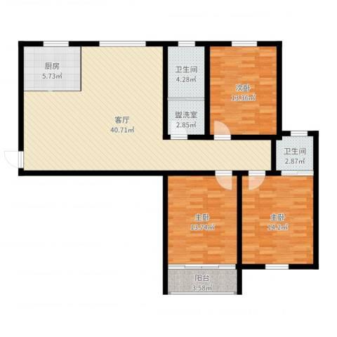 鸿运苑二期3室3厅2卫1厨127.00㎡户型图