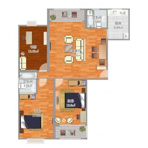 金色水岸3室2厅2卫1厨121.00㎡户型图