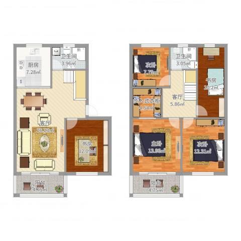 国泰花园5室2厅2卫1厨151.00㎡户型图
