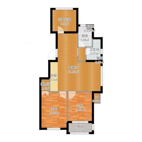 金色玺园2室2厅1卫1厨98.00㎡户型图