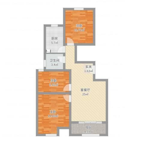 万泰广场3室2厅1卫1厨91.00㎡户型图