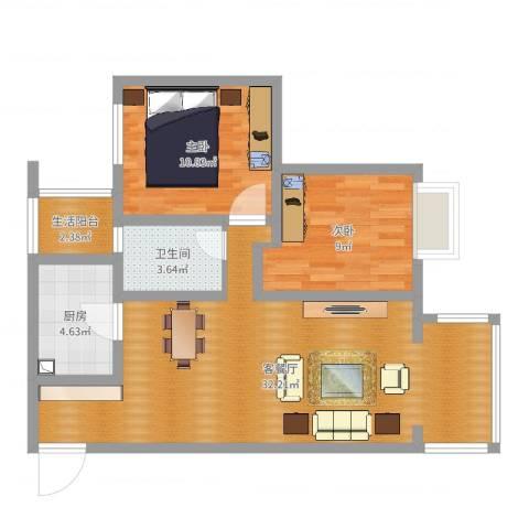大源小区2室2厅1卫1厨78.00㎡户型图