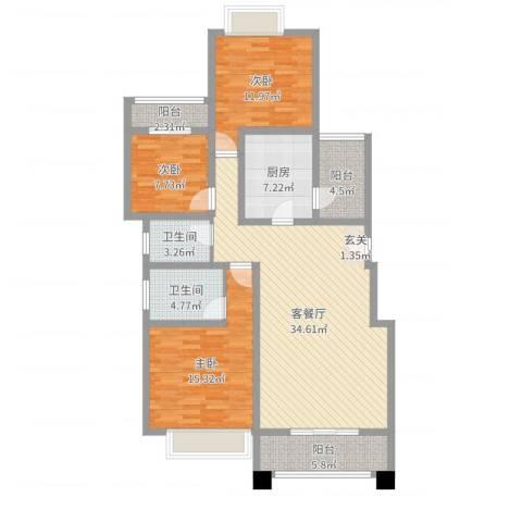 金科公园王府3室2厅2卫1厨122.00㎡户型图
