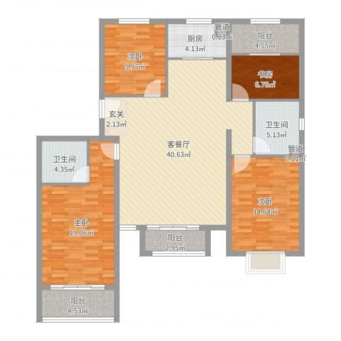 世贸广场4室2厅2卫1厨146.00㎡户型图