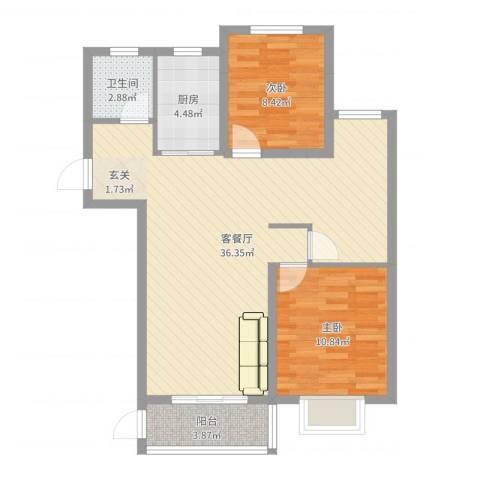 伊顿华府2室2厅1卫1厨84.00㎡户型图