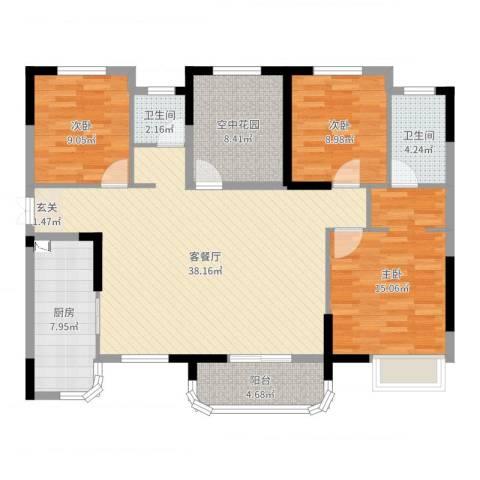润和之悦3室2厅2卫1厨123.00㎡户型图