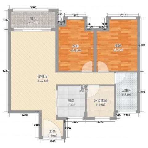 Y-CITY2室2厅1卫1厨95.00㎡户型图