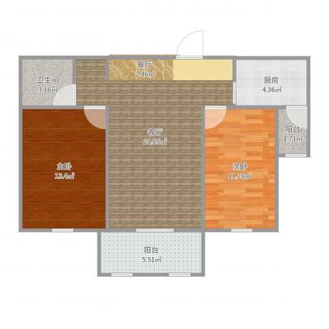 红星海岚谷2室1厅1卫1厨80.00㎡户型图
