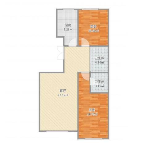 如一坊中央公园2室1厅2卫1厨82.00㎡户型图