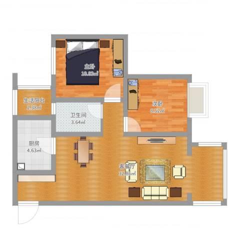 大源小区2室2厅1卫1厨79.00㎡户型图