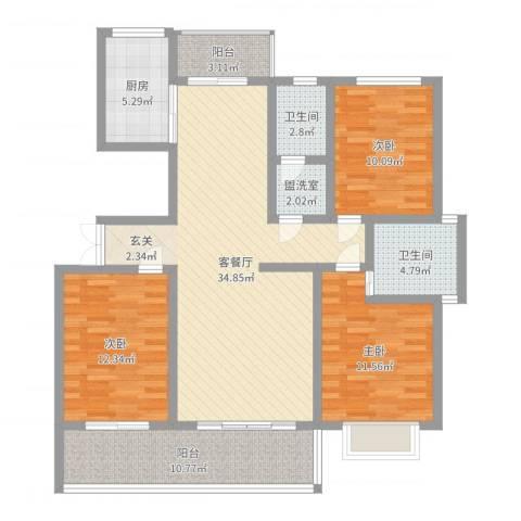 万泰秀水湾3室4厅2卫1厨122.00㎡户型图