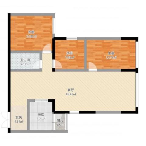 金源达・时代广场3室1厅1卫1厨113.00㎡户型图