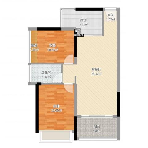 上东国际二期2室2厅1卫1厨84.00㎡户型图