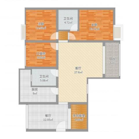 湄潭金华世家3室2厅2卫1厨131.00㎡户型图