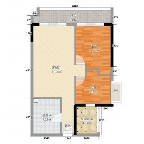 KPR佳兆业广场2室2厅1卫0厨78.00㎡户型图