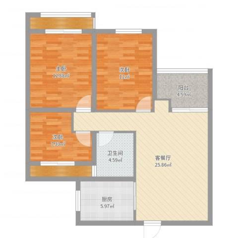 龙湖湘风原著3室2厅1卫1厨97.00㎡户型图