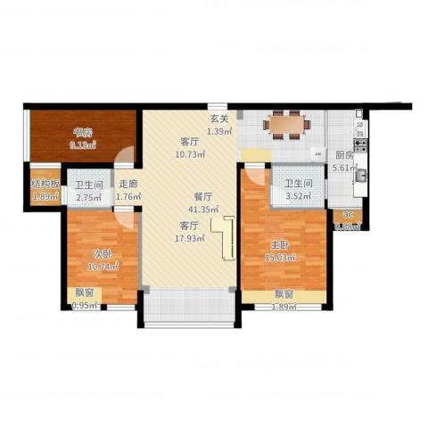 雄森・安仁新城3室1厅2卫1厨113.00㎡户型图
