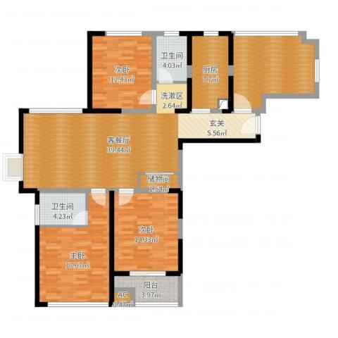 和泰家园3室2厅2卫1厨150.00㎡户型图