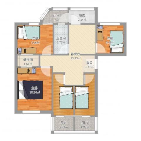 新洲花园3室2厅1卫1厨73.00㎡户型图