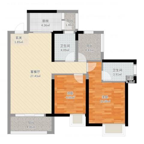 藏珑华府2室2厅2卫1厨90.00㎡户型图