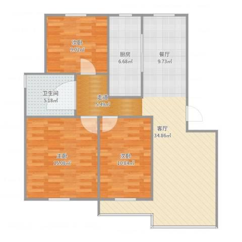 荷风华庭3室1厅1卫1厨102.00㎡户型图