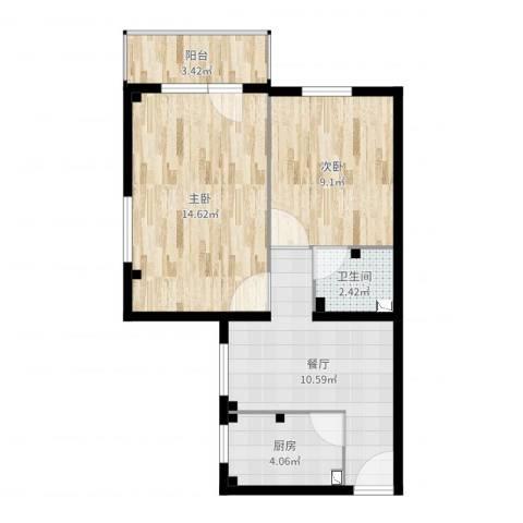 中关村南大街40号院2室1厅1卫1厨55.00㎡户型图