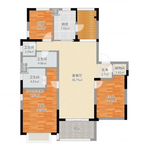 吴月雅境3室2厅3卫1厨137.00㎡户型图