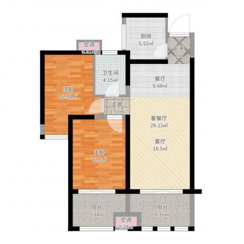 中天锦庭2室2厅1卫1厨95.00㎡户型图