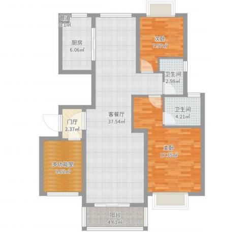 华翔世纪城2室2厅2卫1厨114.00㎡户型图