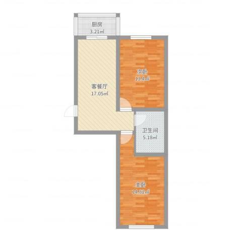 上东街区美一方2室2厅1卫1厨67.00㎡户型图