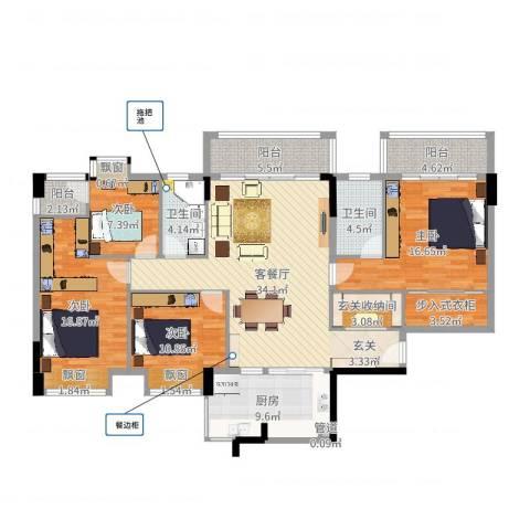 大步海滨花园三期4室2厅2卫1厨154.00㎡户型图