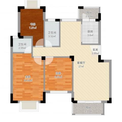百盈花园3室2厅2卫1厨90.00㎡户型图