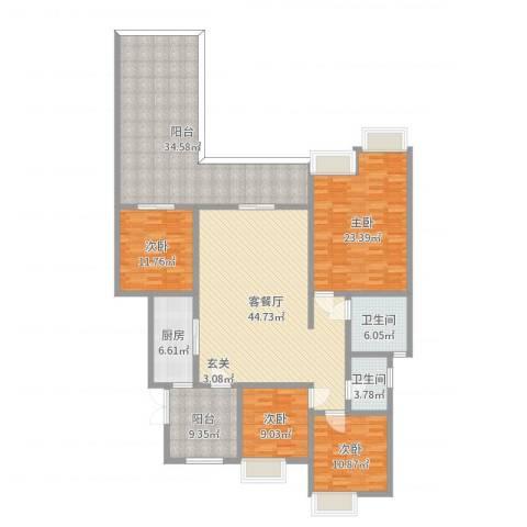 约克郡上林洋房4室2厅2卫1厨200.00㎡户型图
