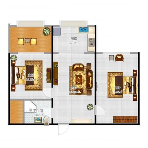 华兴小区2室1厅1卫1厨78.00㎡户型图