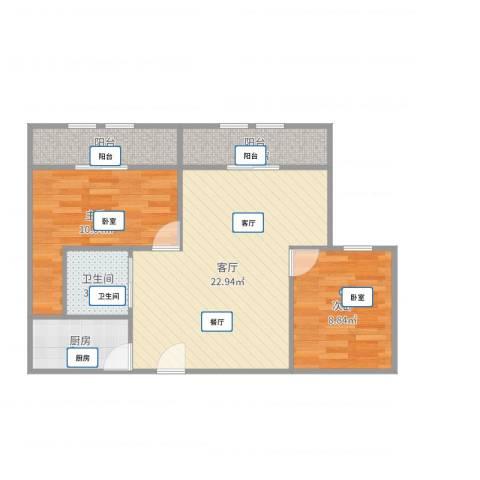 国豪水岸城2室1厅1卫1厨71.00㎡户型图