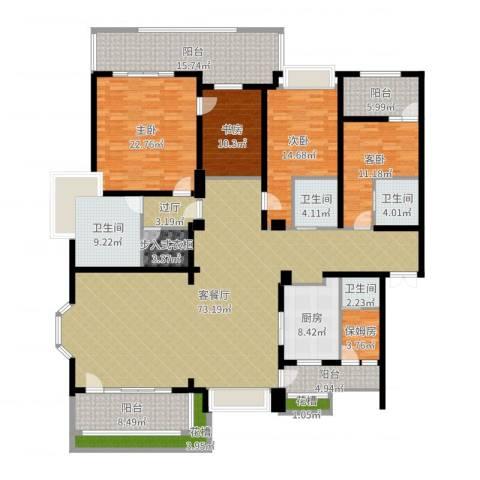天正滨江4室2厅4卫1厨263.00㎡户型图