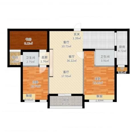 雄森・安仁新城3室1厅2卫1厨112.00㎡户型图