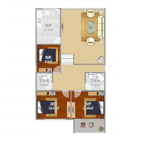 逸东花园2室2厅2卫1厨125.00㎡户型图