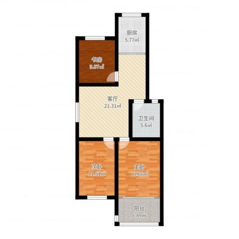 蟠桃花园3室1厅1卫1厨91.00㎡户型图