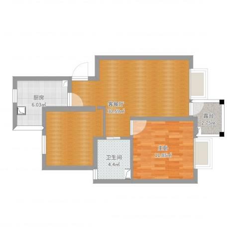 菊盛路1158弄馨佳园40#202室1室2厅1卫1厨70.00㎡户型图