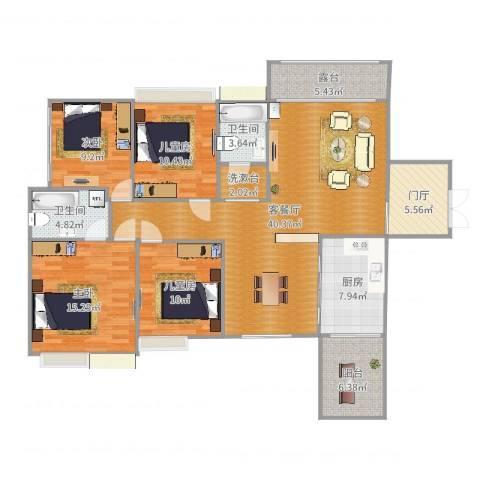 中港世纪嘉城4室2厅2卫1厨151.00㎡户型图