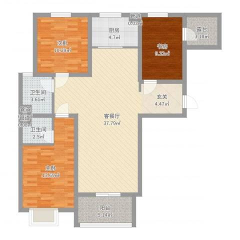 凌透花园二期3室2厅2卫1厨113.00㎡户型图