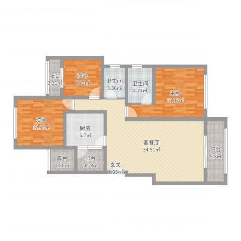 金科公园王府3室2厅2卫1厨124.00㎡户型图