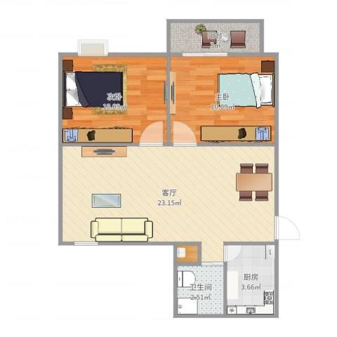茶香坊2室1厅1卫1厨66.00㎡户型图